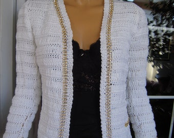 SALE jacket wedding cardigan in white cotton handmade knitted  with strass ready to ship for her size S by golden yarn