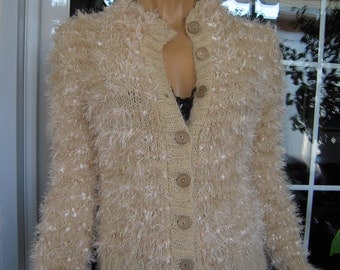 jacket handmade knitted fluffy cardigan/sweater in soft beige ready to ship for her size M/L by golden yarn
