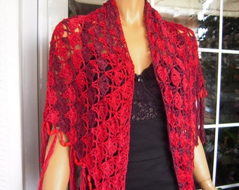 wrap big red crochet handmade  knit wrap/ shawl with beads/gift idea for her by golden yarn
