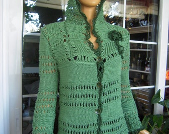 SALE cardigan jacket handmade crochet hood sweater in awesome green cotton for her size M/L OOAK by golden yarn