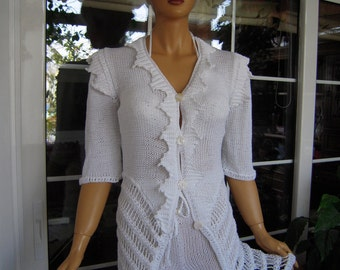 jacket and shorts handmade knitted outfit cardigan and shorts in white cotton OOAK ready to ship gift idea for her by golden yarn