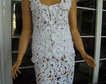 top and skirt handmade crochet outfit in white cotton dress ready to ship for her size L OOAK by golden yarn