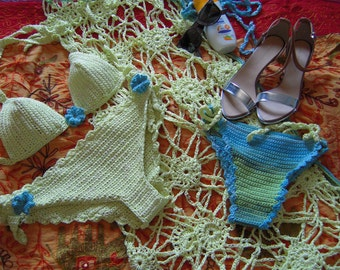 swimsuit handmade crochet with pareo four pieces in light green and blue ready to ship for her gift idea by golden yarn