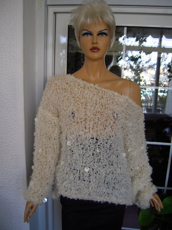 OFFER LAST ONE sweater handmade knitted oversized slouchy fluffy sweater in ivory,beige with sequins ready to ship all size by Golden Yarn
