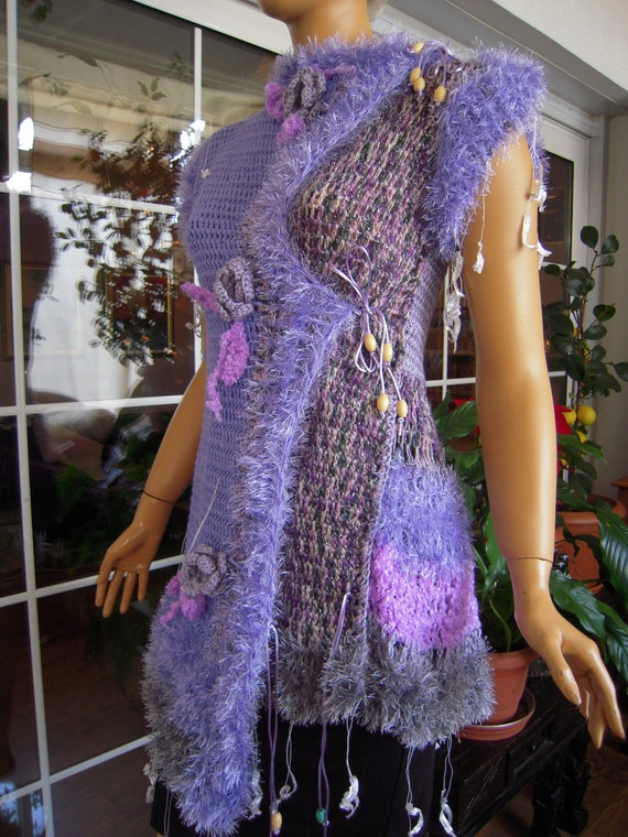RESERVED luxury bohemian handmade crochet  gillet/top/vest/sweater in lilac original OOAK sleeveless,ready to ship,size M/L New collection