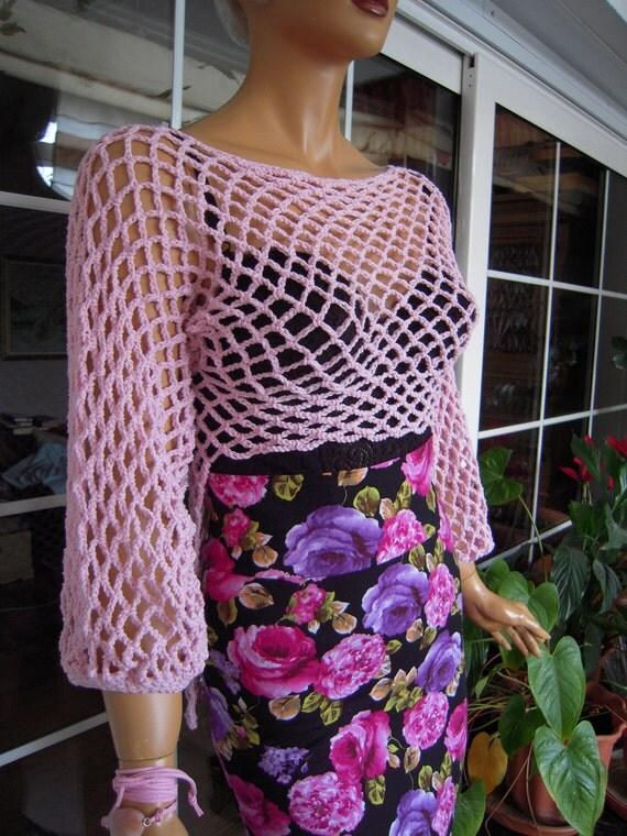 top sweater handmade crochet fishnet longsleeve top/ in pink cotton ready to ship size M''Barbie'' by golden yarn