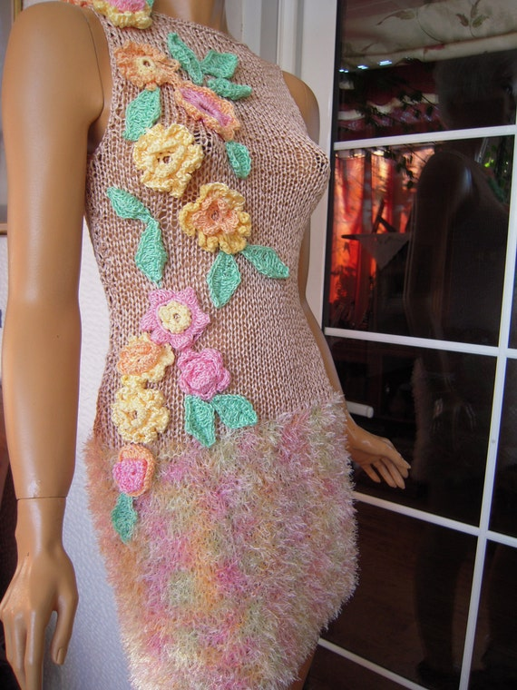 Handmade knitted sleeveless dress/sweater in nude/sorbet ''Maria''