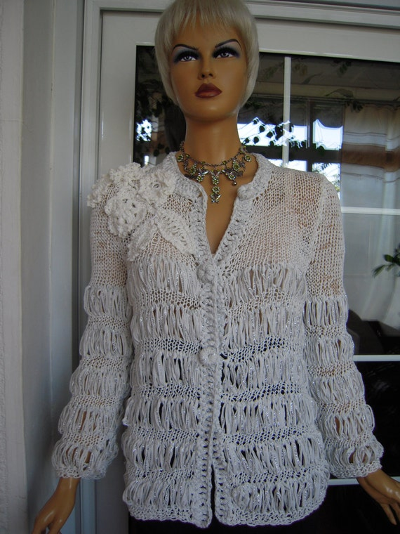 cardigan/sweater handmade knitted wedding  in sparkle white last one ready to ship gift idea for her size M ''OOAK by golden yarn