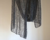 Scarf hand knitted mohair dark grey color