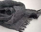 Scarf women men 100 percent natural linen by SleeWay, Linen Scarf, Scarf Linen grey color