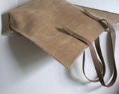 Leather tote bag handbag brown waxed vintage look handmade by SleeWay