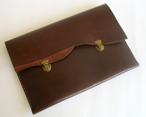MacBook 13 Air or Pro briefcase natural  leather burgundy color hand sewing