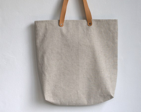 Handbag everywhere natural linen with leather handles