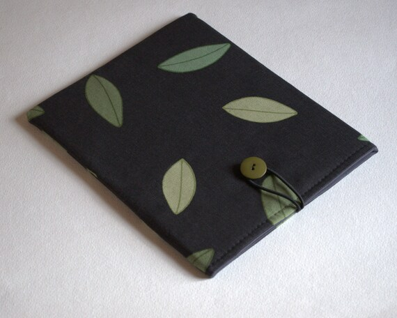 Case for iPad 2  sleeve  cover Olive Leaf black and green