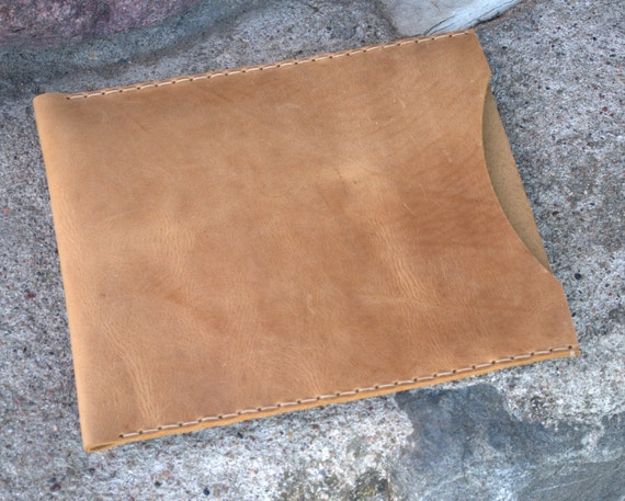 iPad Cover, iPad Case, iPad Sleeve - Crazy Horse natural leather  2 mm thick hand sewing iPad Bag