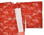 Japanese silk kimono komon with cranes  pattern bingata katazome style