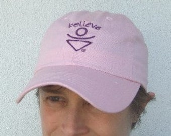 Pink BELIEVE Baseball hat, Empowered Zone, Inspirational headwear