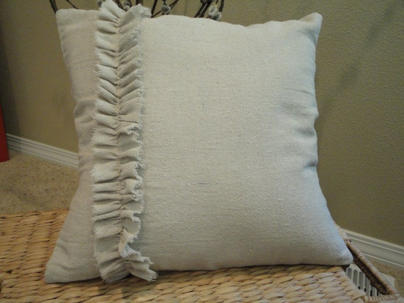 Ruffle Decorative Pillow Covers : Ruffle accented Throw Pillow Cover
