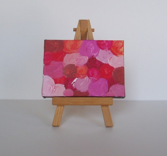 """Miniature Original Painting with Easel - Child with Multiple Disabilities - 2.5"""" x 3"""""""