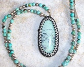 variquoise, turquoise and silver beaded necklace