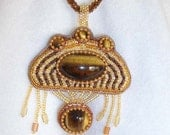 Tiger Eye bead embroidered metal free necklace