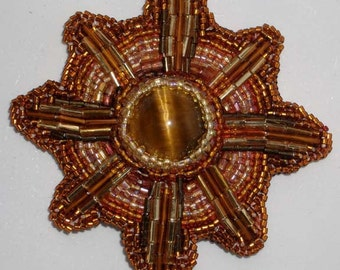 Sun Burst - bead embroidery tiger eye pin