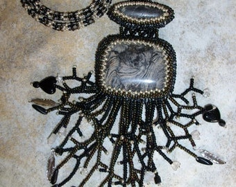 Black and silver hearts and feathers jasper beaded necklace