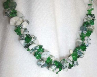 emerald and  moss agate chip spiral necklace