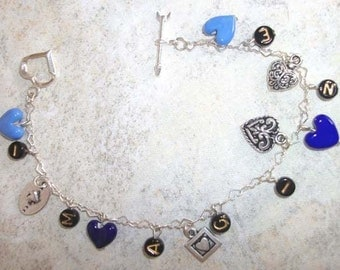 IMAGINE  blue and silver  hearts charm bracelet PRICE REDUCED