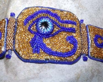 Egyptian inspired bead embroidery hinged cuff bracelet