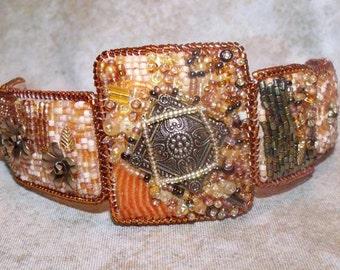 Steampunk bead embroidered bracelet, bead embroidery bracelet