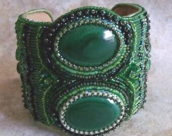 Malachite bead embroidered cuff bracelet, OOAK, bead embroidery cuff, malachite bracelet, beaded bracelet, handmade bracelet