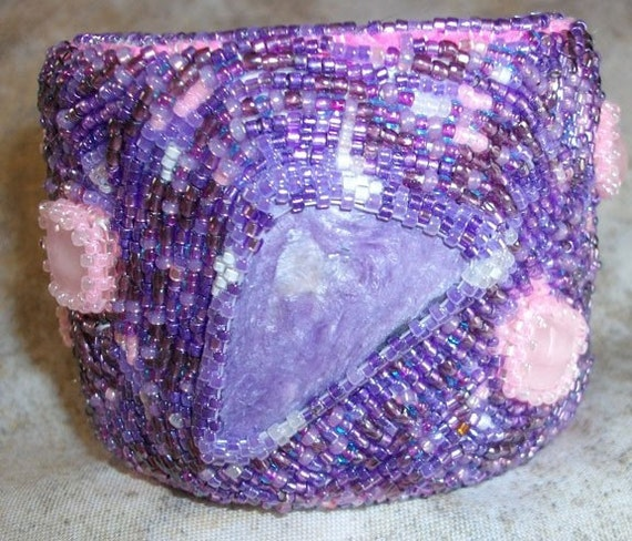 Purple Russian Charoite and Pink Quartz  bead embroidered cuff bracelet PRICE REDUCED