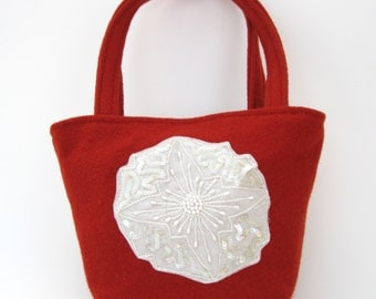 FELTED Red WOOL Purse with Beading / (OOAK) Felted Bag / Tote/ Red Evening Bag  from upcycled boiled wool sweater.