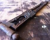 Antique Salvaged Cast Iron Plant Hanger with Ornate Openwork Design