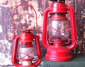Bright Red Vintage Lanterns Set of 2