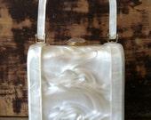 Vintage White Pearl Lucite Handbag