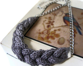 upcycled urban knitwear Cocoa Brown Necklace