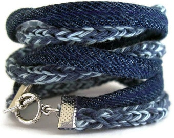 Eco friendly upcycle bracelet-smoky blue-Sky blue-Vintage denim indigo