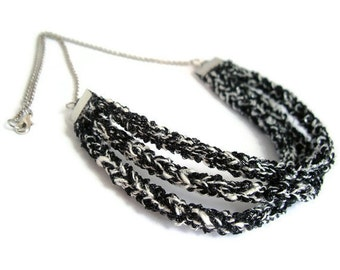 Sparkly black & white silver - knitwear jewelry necklace