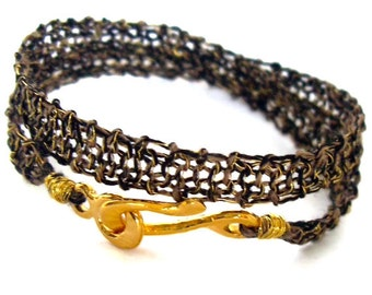 Chic gold black bracelet - trendy & dazzling - Gold Wire Crochet Knitted