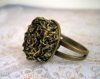 Tribal inspired - Antique gold & black ring - Gold Wire Crochet Knitted