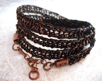 Tribal rustic style bracelet - Copper wire and black crochet knitted