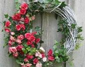 Floral Wreath, Cottage Chic, Nantucket Roses, Wedding, Summer  Wreath