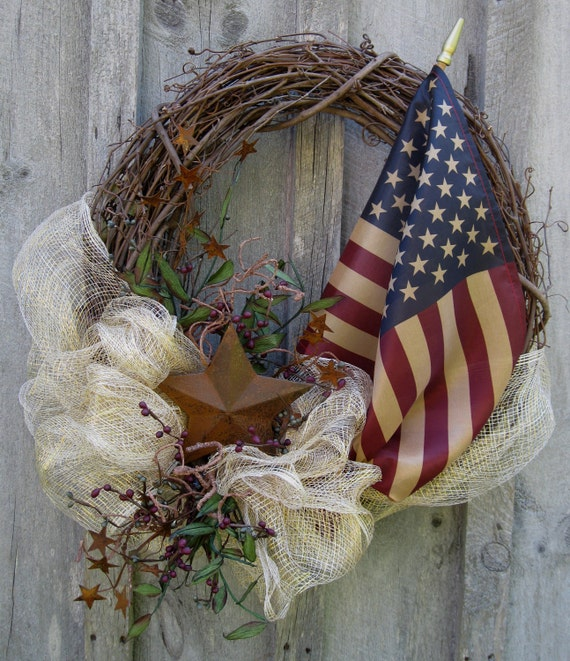 Americana Patriotic Summer Celebration Wreath with Tea Stained Flag