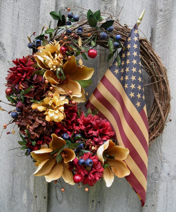 Americana Heritage Classic Floral Wreath with Tea Stained Flag