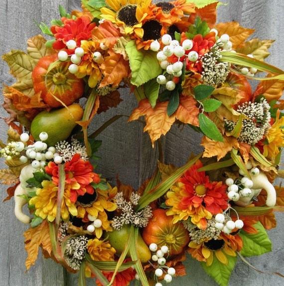 Fall Wreaths, Autumn Floral Wreath, Harvest, Thanksgiving Decor, Sunflowers, Pumpkins