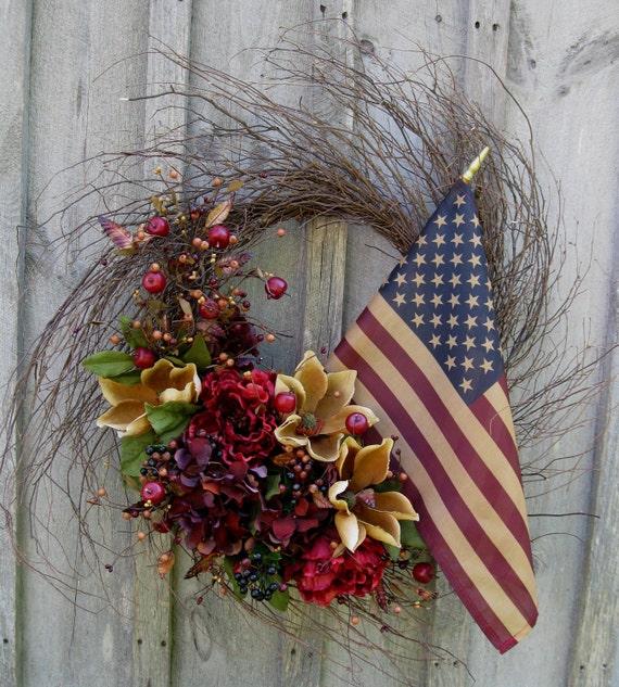 CYBER MONDAY SALE, Autumn Wreath, Fall Americana Wreath,  Patriotic  Door Decor, Tea Stained Flag