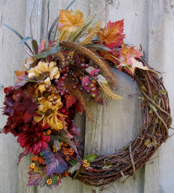 Autumn Wreath, Fall Woodland Wreaths, Country Chic, Floral Decor