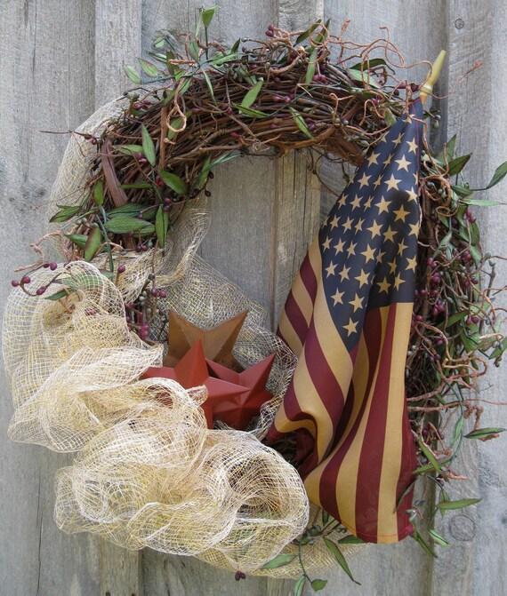 Americana Wreath, Patriotic Wreath, Primitive Decor, Rustic Stars, Tea Stained Flag